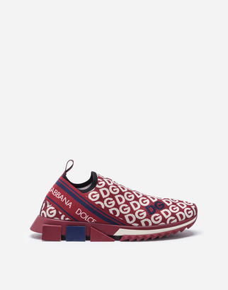 Dolce & Gabbana Knit Fabric Sorrento Sneakers With Mania Print