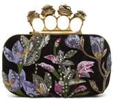 Alexander McQueen Knuckle Crystal-embellished Suede Clutch Bag - Womens - Black Multi