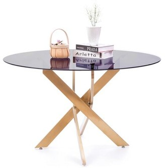 Everly Quinn Round Smoked Glass Gold Stainless Steel Metal Modern Dining Table