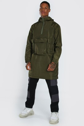 boohoo Mens Green 3 Front Pocket Lightweight Parka, Green