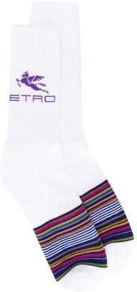 Etro Striped Logo-Print Socks