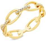 Thumbnail for your product : Sterling Forever 14K Gold Vermeil & Crystal Open Chain-Link Ring/Size 9