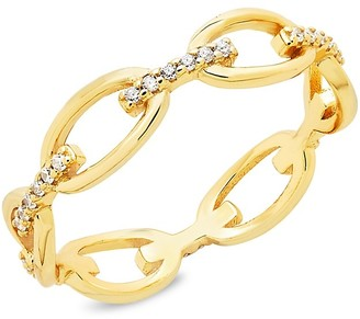 Sterling Forever 14K Gold Vermeil & Crystal Open Chain-Link Ring/Size 9