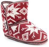 Muk Luks Short Knit Snowflake Fairisle Patterned Faux Fur Lined Slipper
