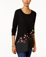 INC International Concepts Embroidered Tunic Sweater, Only at Macy's