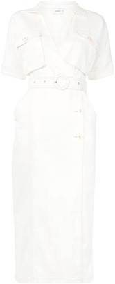 SUBOO Twill Shirt Wrap Dress