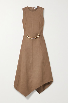 J.W.Anderson Asymmetric Chain-embellished Wool-blend Drill Dress - Tan