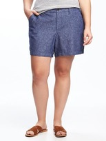 """Old Navy Mid-Rise Linen-Blend Plus-Size Everyday Shorts (7"""")"""