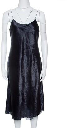 Gucci Metallic Blue Bead Edged Chain Strap Slip Dress M