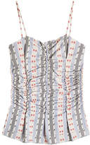 Carven Ruched Jacquard Cotton Camisole