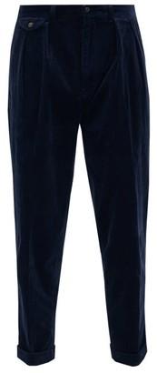 Polo Ralph Lauren Wide-leg Pleated Cotton-blend Corduroy Trousers - Mens - Navy