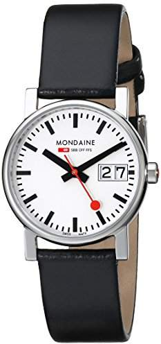 Mondaine Women's Quartz Watch with White Dial Analogue Display and Black Leather Strap A669.30305.11SBB