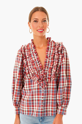 The Great Farmhouse Plaid Tuxedo Button Top