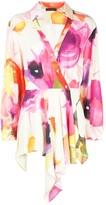 Josie Natori eden floral drape tunic