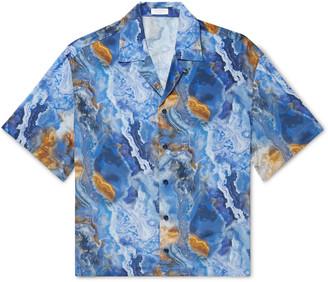 Deveaux Resort Camp-Collar Printed Silk Shirt - Men