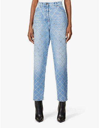 Balmain Diamante-embellished straight-leg mid-rise jeans