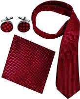 Peach Couture Men's Silk Feel Necktie Cufflinks Pocket Square Handkerchief Set (Solid, Black)
