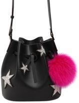 Les Petits Joueurs Dalia Star Pompom Leather Bucket Bag