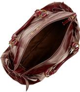 Miu Miu Bow-embellished glossed-leather tote