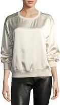 Theory Massar Vintage Silk Satin Sweatshirt