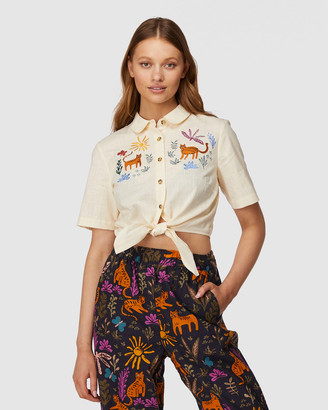 Princess Highway - Women's White Shirts & Blouses - Safari Tie Blouse - Size One Size, 12 at The Iconic