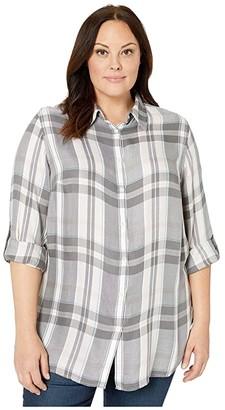 Lauren Ralph Lauren Plus Size Plaid Roll-Tab-Sleeve Shirt (Pink Multi) Women's Clothing