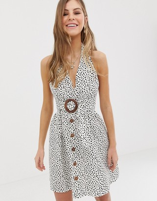 ASOS DESIGN halter neck mini button through linen sundress with buckle in spot