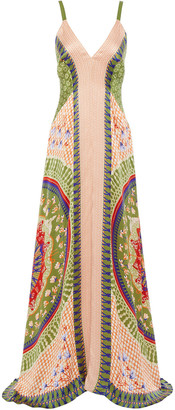 Temperley London Hammered Printed Silk-satin Maxi Dress