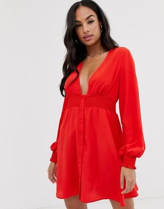 Asos Design DESIGN long sleeve button through mini dress with shirred waist