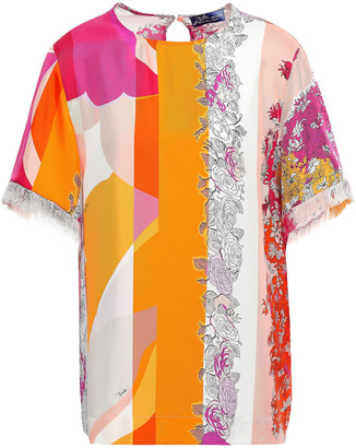 Emilio Pucci Fringe-trimmed Printed Silk-twill Top