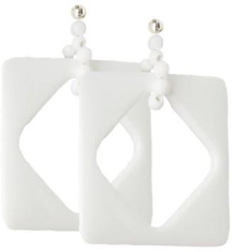 Pietrasanta White Off-Set Square Statement Earrings