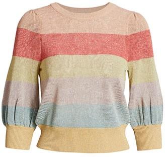 ML Monique Lhuillier Colorblock Stripe Knit Top