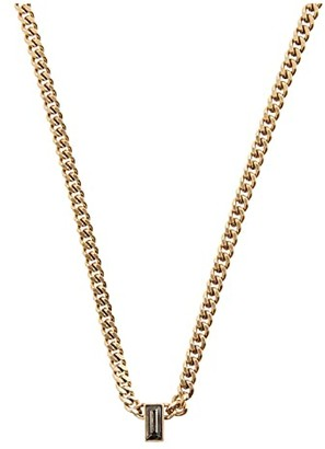 AllSaints Baguette Curb Chain Necklace (Black Diamond) Necklace