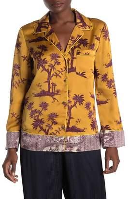 Scotch & Soda Plant Printed Satin Pajama Top