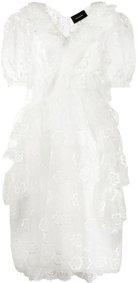 Simone Rocha Floral-Embroidered Tulle Ruffle Dress