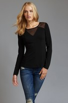Dynamite Long Sleeve Peplum Top with Mesh