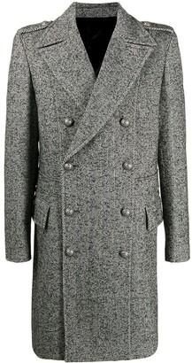 Balmain Herringbone Double-Breasted Coat