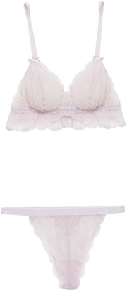 Cosabella Stretch-lace Bralette And Mid-rise Thong