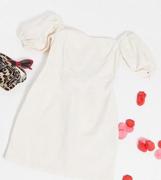New Look Tall puff sleeve mini denim dress in cream