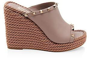 Valentino Women's Garavani Rockstud Torchon Leather Wedge Mules