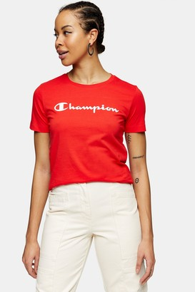 Champion Womens Light Red Cotton T-Shirt By Red