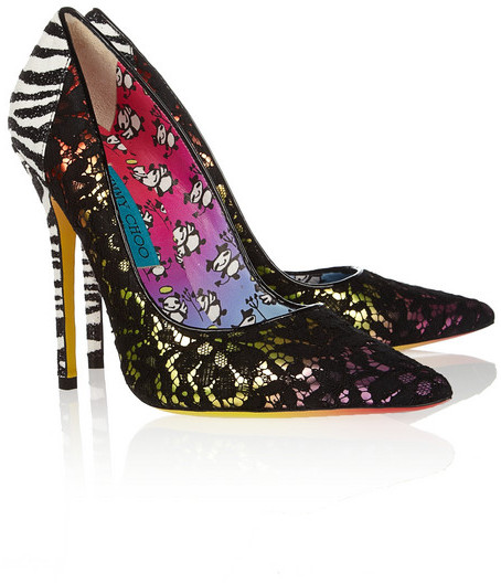 Jimmy Choo + Rob Pruitt Anouk lace-covered leather pumps