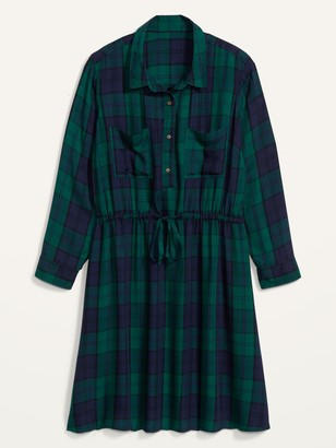 Old Navy Waist-Defined Plaid Flannel No-Peek Plus-Size Shirt Dress