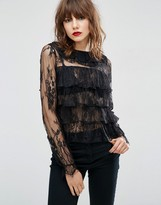 Asos Top With Ruffle Collar In Lace