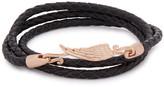 Simon Carter Black Braided Leather Wrap Bracelet