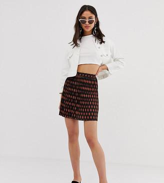 Asos Tall DESIGN Tall exclusive pleated mini skirt in tile print-Multi