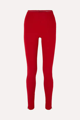 Prada Ribbed-jersey Leggings - Red