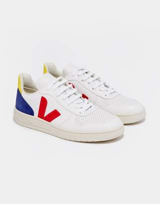 Veja V-10 Leather Trainers White & Yellow
