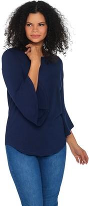 Belle By Kim Gravel Essentials TripleLuxe Knit Bell Sleeve Top