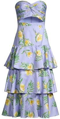 AMUR Roxy Linen-Blend Strapless Tiered Midi Dress